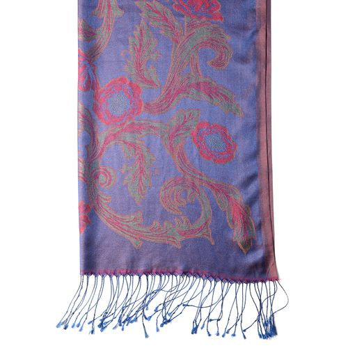 Red, Blue and Multi Colour Scarf with Flower Pattern and Tassels (Size 180x70 Cm)
