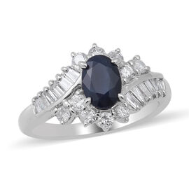 Signature Collection 900 White Platinum Blue Sapphire and Diamond (I1/G-H) Ring 1.950 Ct., Platinum