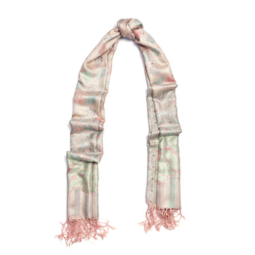 100% Superfine Silk Pink, Green and Multi Colour Paisley and Stripe Pattern Scarf (Size 180x70 Cm)