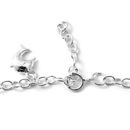 Thai Sterling Silver Collection Sterling Silver Adjustable Charm Bracelet (Size 7.5 and 1 inch Extender), Silver wt 3.70 Gms.