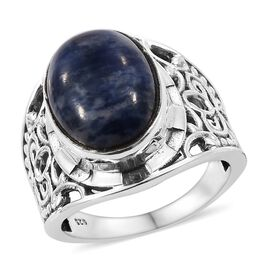 One Time Deal- Sodalite Ring (Size P) in Sterling Silver 6.060 Ct, Silver wt 5.75 Gms