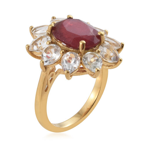 African Ruby (Ovl 5.50 Ct), White Topaz Sun Flower Ring in 14K Gold Overlay Sterling Silver 9.500 Ct.
