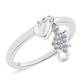 J Francis Crystal from Swarovski - White Crystal (Rnd) Ring with Heart Charm in Sterling Silver