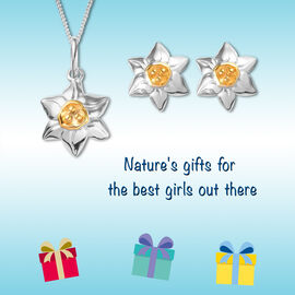 2 Piece Set for Children, Floral Pendant and Stud Earrings in Platinum and Gold Plated Silver