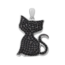 Boi Ploi Black Spinel (Rnd) Cat Pendant in Rhodium and Black Overlay Sterling Silver 2.66 Ct.
