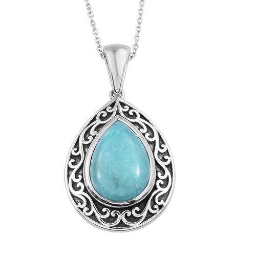 4.75 Ct Peruvian Amazonite Halo Pendant with Chain in Sterling Silver 6.56 Grams 20 Inch