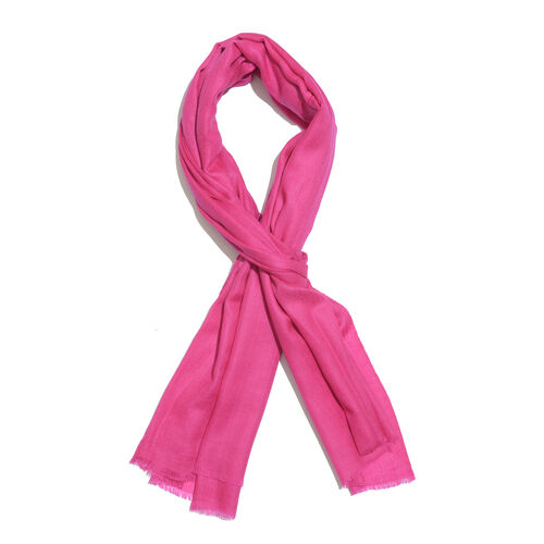 Limited Available -100% Cashmere Wool Hot Pink Colour Shawl with Fringes (Size 200X70 Cm)