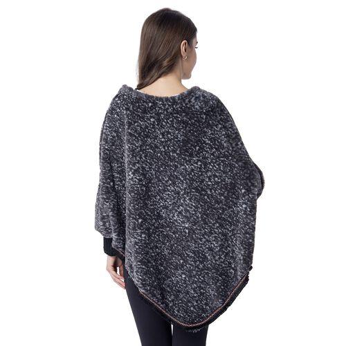 Grey Colour Faux Fur Poncho (Size 82x75 Cm)