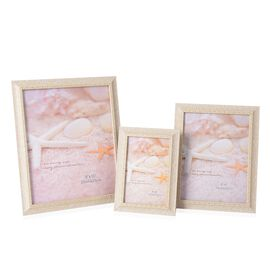 Set of 3  - Different Size Photo Frame (Size 4x6, 6x8 and 8x10 Cm) - Cream