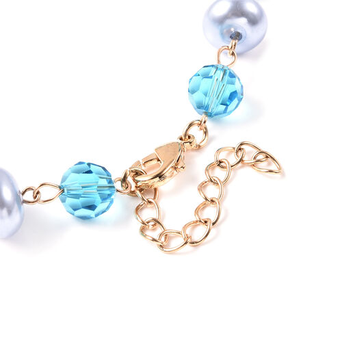 Blue Howlite, Simulated Diamond, Simulated Blue Topaz and White Austrian Crystal and Vintage Style Cameo Necklace (Size 20) in Gold Tone