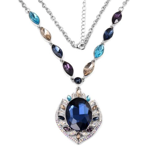 Designer Inspired- Simulated Blue Sapphire (Ovl), Multi Colour Austrian Crystal Necklace (Size 20 with 2 inch Extender) in Silver Tone