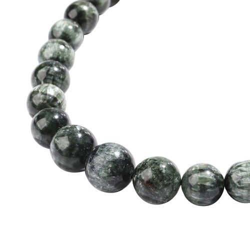 Extremely Rare-Siberian Seraphinite Beads Necklace (Size 20) with Magnetic Lock in Rhodium Overlay Sterling Silver 404.00 Ct.