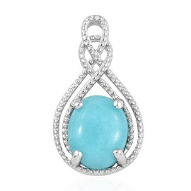 2.50 Carat Natural Peruvian Amazonite Solitaire Pendant in Platinum Plated Sterling Silver