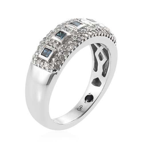 GP Blue Diamond (Sqr), White Diamond and Kanchanaburi Blue Sapphire Ring in Platinum Overlay Sterling Silver 0.520 Ct