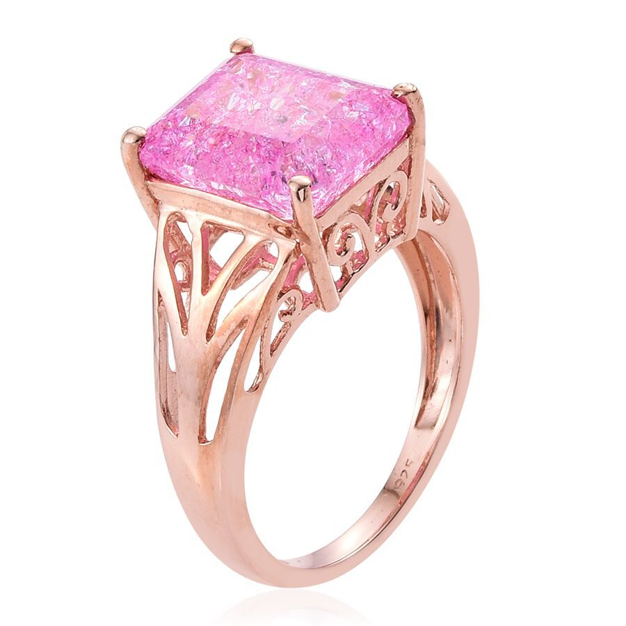 Pink Crackled Quartz (Oct) Solitaire Ring in Rose Gold Overlay ...