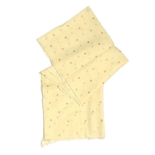 Epic Deal 100% Cotton Cream Colour Polka Dots Foil Printed Scarf (Size 180x100 Cm)
