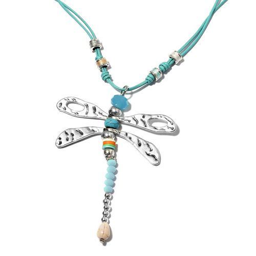 Simulated Aquamarine,White Howlite, Blue Howlite and Austrian White Crystal Dragonfly Beads Necklace (Size 24) in Silver Bond.