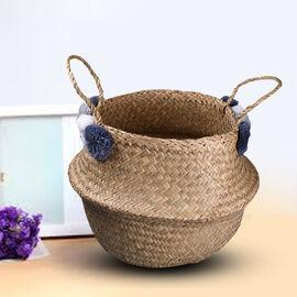 Foldable Seagrass Basket with Pom Pom (Size 30X25X25 HANDLE 14 CM)