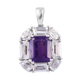 4.5 Ct Amethyst (Oct), White Topaz Halo Pendant in Platinum Plated Sterling Silver