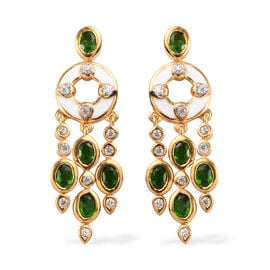 Russian Diopside and Natural Cambodian Zircon Enamelled Earrings (with Push Back) in 14K Gold Overla