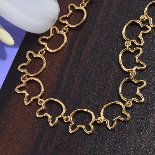 14K Gold Overlay Sterling Silver Bunny Link Bracelet (Size 6.5 with 1 inch Extender), Silver wt 4.91 Gms