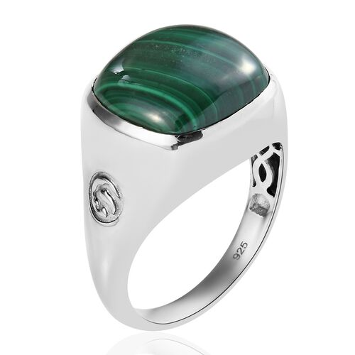 Malachite Signet Ring in Platinum Overlay Sterling Silver 14.88 Ct, Silver wt. 6.00 Gms