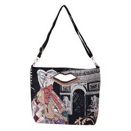 Lady Dress Jacquard Pattern Crossbody Bag with Metallic Lip-Shaped Top Handles in Black