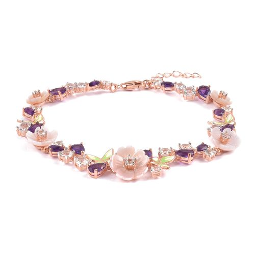 JARDIN COLLECTION - Pink Mother of Pearl (12mm), White Topaz, African Amethyst Bracelet (Size 8) in Rose Gold and Rhodium with Enameled Overlay Sterling Silver 13.610 Ct, Silver Wt. 7.50 Gms