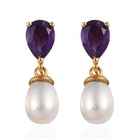 Freshwater Pearl and Amethyst Drop Earrings (with Push Back) in 14K Gold Overlay Sterling Silver
