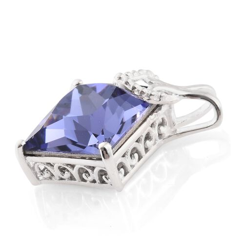 J Francis Crystal from Swarovski - Tanzanite Colour Crystal (Sqr) Pendant in Sterling Silver