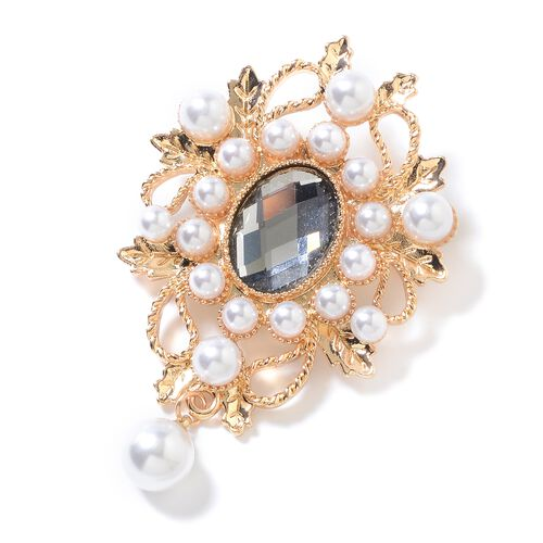 Simulated Grey Spinel (Ovl), Simulated Pearl Brooch in Yellow Gold Tone