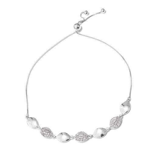 Diamond (Rnd) Adjustable Bracelet (Size 6.5 to 8) in Platinum Overlay Sterling Silver 0.400 Ct.