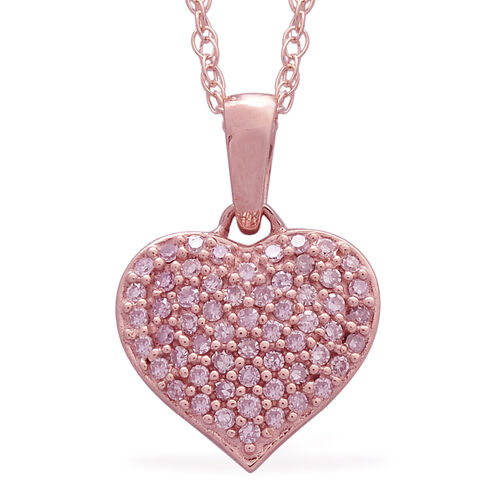 9K Rose Gold Natural Pink Diamond Heart Pendant With Chain 0.250 Ct.