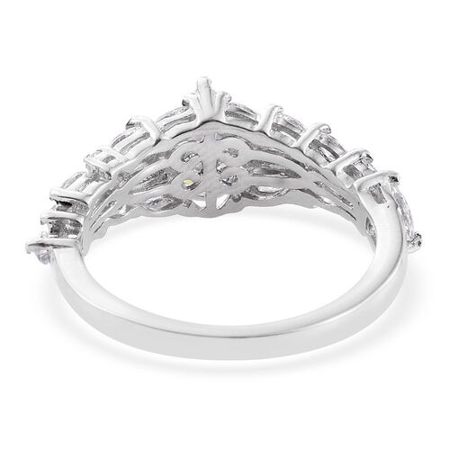 J Francis - Platinum Overlay Sterling Silver (Pear) Ring Made with SWAROVSKI ZIRCONIA