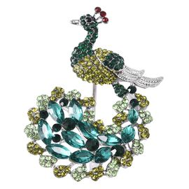 Simulated Emerald and Multi Colour Austrain Crystal Peacock Brooch