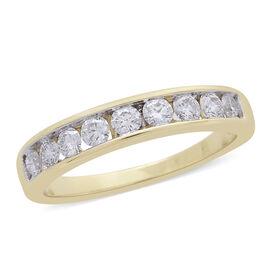 ILIANA 0.50 Carat Diamond IGI Certified (SI/G-H) Half Eternity Ring in 18K Gold