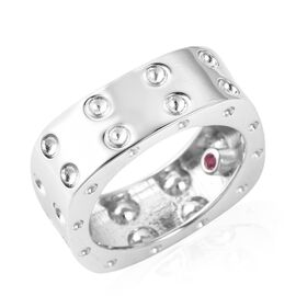 RACHEL GALLEY Burmese Ruby Band Ring in Rhodium Plated Silver 6.57 Grams