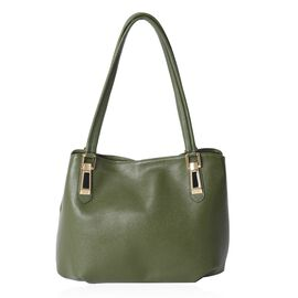 Close Out Deal High Glossed 100% Genuine Leather  Green Bag (Size 35x26x13 Cm)