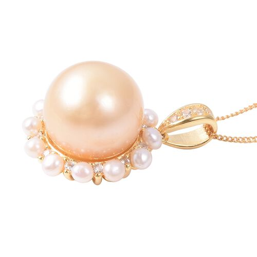 Golden South Sea Pearl (Rnd 14 - 15 mm), Freshwater Pearl and Natural White Cambodian Zircon Pendant With Chain (Size 18) in Yellow Gold Vermeil Sterling Silver