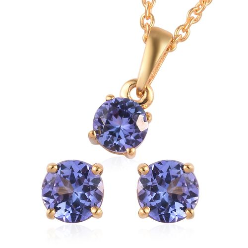 2 Piece Set - Tanzanite Pendant with Chain (Size 18) and Stud Earrings (with Push Back) in 14K Gold
