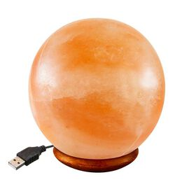 Ball Shape Himalayan Salt Lamp with Colour Changing LED & USB Plug (Size 8x6.5) - Pink 0.5 Kg (1.1 L