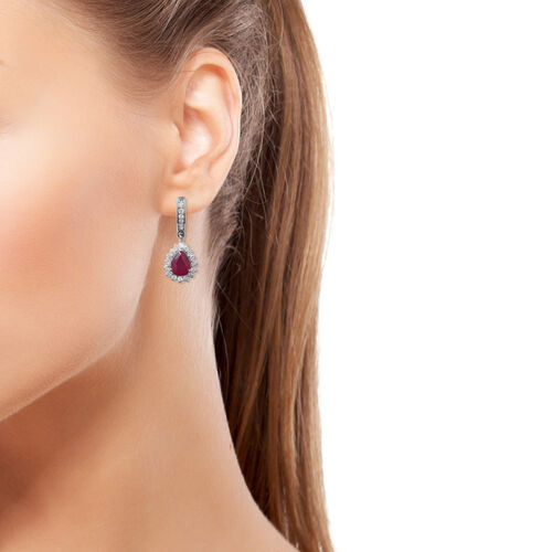 Limited Edition- African Ruby (Pear 8x6), Natural Cambodian White Zircon Earrings (with Fancy Clasp) in Rhodium Overlay Sterling Silver 4.460 Ct.