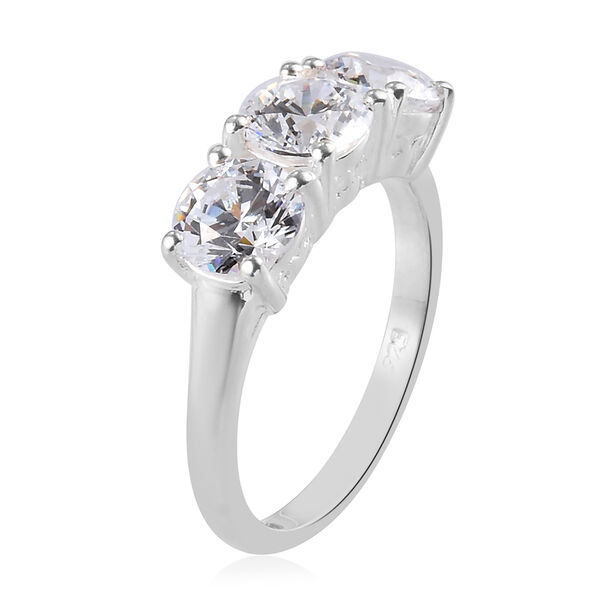 J Francis - Sterling Silver Ring Made with SWAROVSKI ZIRCONIA 4.38 Ct.