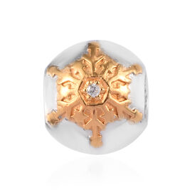 Charmes De Memoire - Natural Cambodian Zircon Snowflake Charm in Platinum and Yellow Gold Overlay St