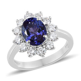 RHAPSODY 950 Platinum AAAA Tanzanite (Ovl 1.75 Ct), Diamond (VS/E-F) Ring  2.750 Ct, Platinum wt 5.55 Gms