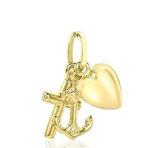 9K Yellow Gold Faith, Hope and Charity Pendant