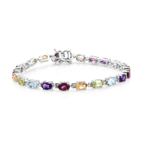 Sky Blue Topaz (Ovl), Rhodolite Garnet, Amethyst, Citrine and Hebei Peridot Bracelet (Size 7.5) in Platinum Overlay Sterling Silver 10.250 Ct. Silver wt. 8.00 Gms.