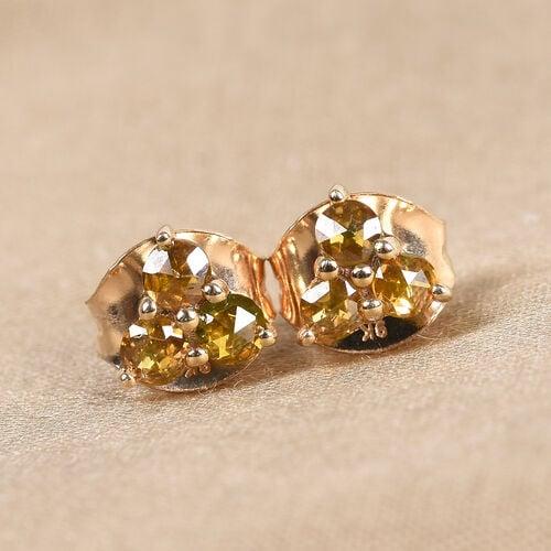 9K Yellow Gold Yellow Diamond Stud Earrings (with Push Back) 0.25 Ct.
