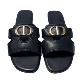 Close Out Deal- Suede Crossover Circle Mule Sandal   - Black