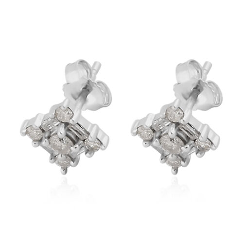 9K White Gold SGL Certified Diamond ( I3/G-H) Stud Earrings (with Push Back) 0.50 Ct.